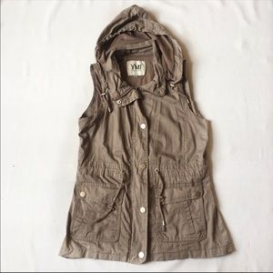 Tan YMI vest with a hood!